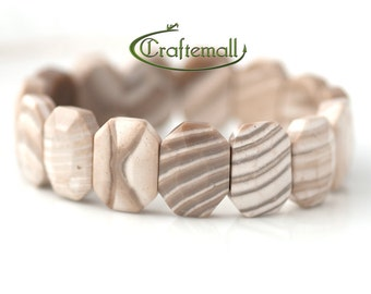 Clearance: Beaded stretch bracelet - Striped Flint natural semi precious stone
