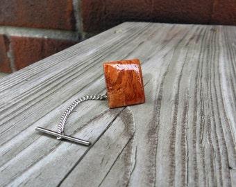 Amboyna Burl Wood Tie Tack Handmade