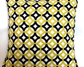 Black and White Citrine Yellow Decorative Throw Pillow Cover - Designer Geometric Trellis - 16x16 or 18x18 inch Cushion Cover