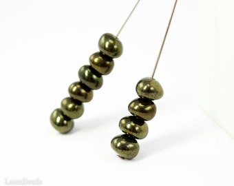 Green Bronze Czech Beads 6mm (30) Rondelle Glass Spacers Small Antiqued Look last