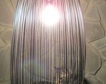 Re-purposed, hanging pendant lighting, grey black light, metal, wire