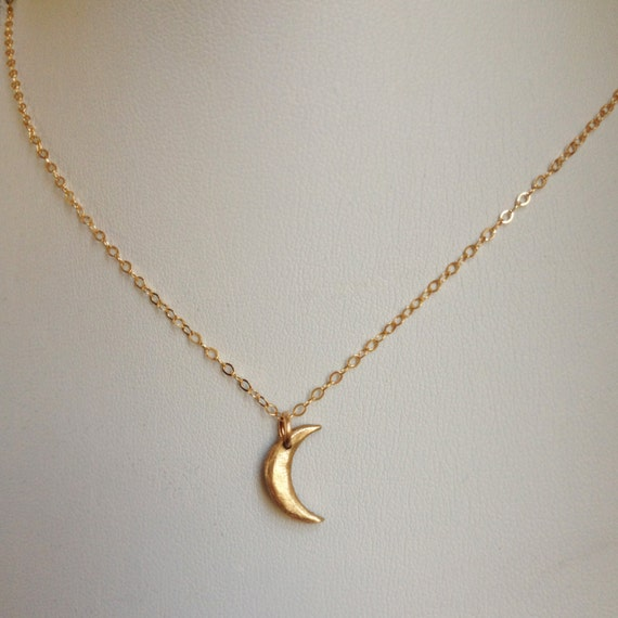 Mini Moon II Bronze Crescent Moon Necklace