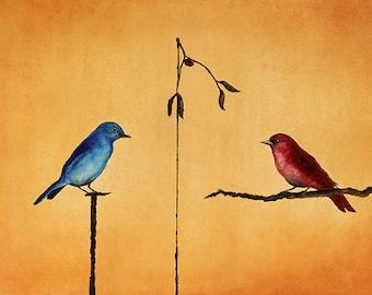 """Art print // Mistletoe - birds // """"That was mistletoe"""""""