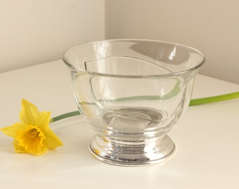 Sterling Footed Divided Glass Bowl, Mayonnaise or Relish Dish