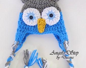 Owl Hat grey/blue/white