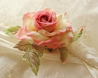 SAMPLE SALE silk rose flower comb, bridal headpiece, bridal fabric flowers, rose hair comb, wedding fabric flowers, rose wedding flower comb