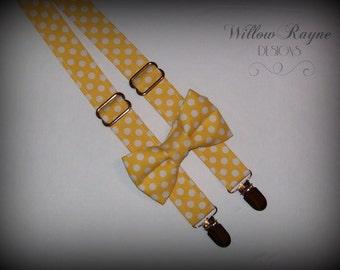 Yellow Polka Dot Bow tie and Suspenders -Boys Suspender Set-Toddler Suspenders-Baby Suspender Set - Yellow Wedding - Photo Prop - Birthday
