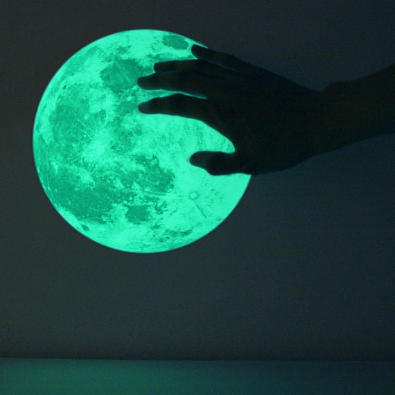 M-size Moonlight night-light sticker, CLAIR DE LUNE (glow in the dark moon wall sticker - 21cm)
