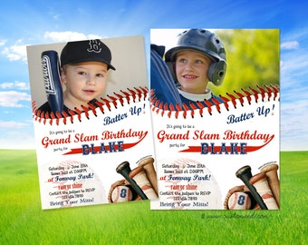 Baseball Birthday Party - Invitation - PERSONALIZED with Age and Photo - printable or prints