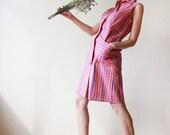 Colorful vertical striped linen sleeveless shirt dress