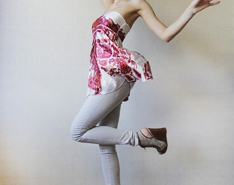 White pink satin scarf strapless babydoll blouse top XS