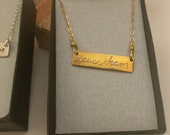 Loved One's Actual Fingerprint Necklace, 22K Gold Plated Fine Silver (99.9%FS)