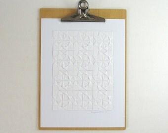 White Paper Collage - Origami Sketch No25 - Modern Home Decor - Minimal Art -  Paper Anniversary - Origami Art Geometric Art Circles Squares