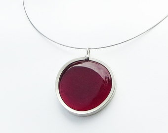 Blood Red Pendant, Vampire Accessory, Melted glass marble pendant, glass jewelry, necklace pendant 043