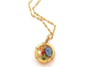 Small Gold Spring Dream Catcher Necklace NGDCSP03