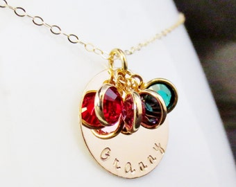 Personalized Gold Name Birthstone Disc Necklace, Grandma Mom Aunt, Handstamped Kids Names, Graduation Day Gift Present