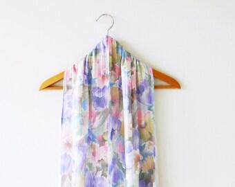 Dreamy Pastel Floral Vintage Scarf / Long Vintage Romantic Scarf / Boho Floral Vintage Scarf