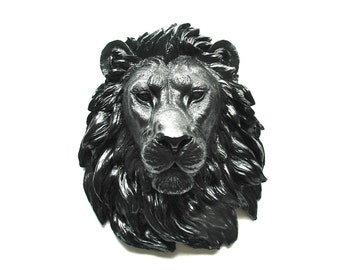 BLACK Faux Taxidermy Large Lion Head Wall Hanging Wall Decor Home Decor: Leonard the Lion in black