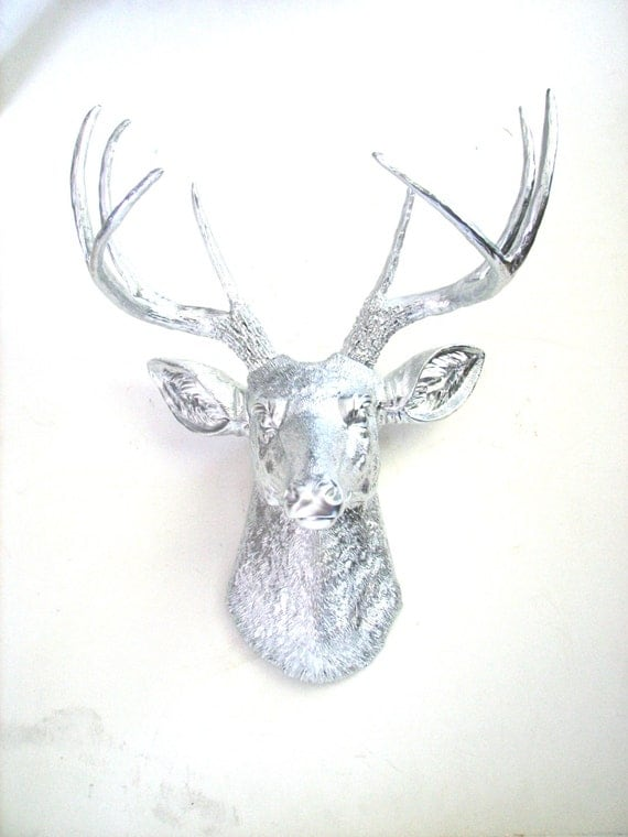 Faux Taxidermy Deer Head wall mount wall hanging home decor: Deerman the Deer Head in silver