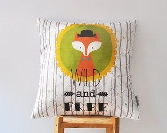 """Woodland Fox Pillow, Decorative Fox Pillow, Modern Nursery Pillows, Kids Throw Pillow, Cushion Cover 16""""x16"""""""