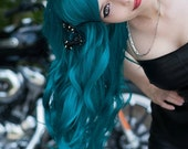 Teal Green Blue / Long Curly Layered Wig with Natural Scalp Piece Durable for Daily Use, Halloween Costumes