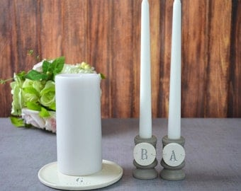 Round PERSONALIZED Unity Candle Set - Unity Ceremony - with tiles on candle holders