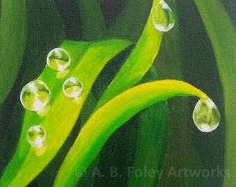 "Original Nature Painting: Dewdrops on Grass. Green Grass Nature Art Acrylic Painting, Water Drops, Green Decor, Green Art on Canvas 10""X10"""
