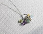 Six birthstone gemstone infinity charm mother's necklace