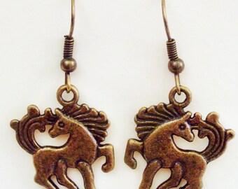 Pony earrings - bronze - horse earrings, ponies, horses, jewellery, jewelry, 3D, 3 d, double sided, equestrian
