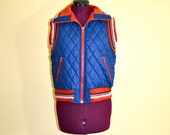 1980s Vintage The Private Line Quilted Reversible Vest Jacket size Medium bust 40