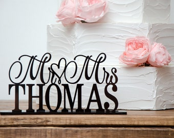 Wedding Sign - Wedding Cake Table Sign - Table Top Wedding Sign with Last Name - Custom Wedding Sign