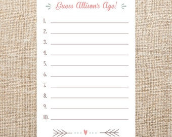 Guess the Bride's Age Shower Game Printable