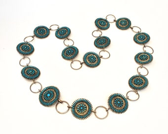 Vintage Zuni Sterling Silver and Turquoise Pettipoint Concho Belt