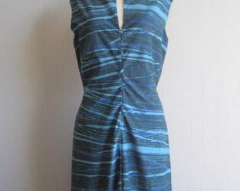 Dress Vintage 80's Lurex Maxi Dress Party Dress Sleeveless Disco Handmade Dress Blue Size XS S Sparkly Shimmering Summer Party Outfit