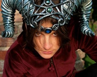 MADE TO ORDER -  horns  fantasy larp sciaman silver blue costume steampunk demon devil fantasy renaissance burning man