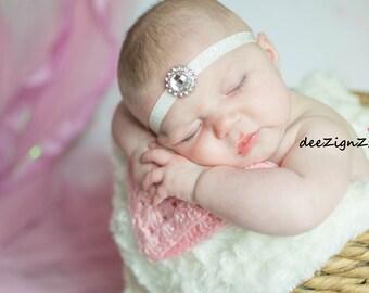 Girls Hair Accessories-Baptism Headband-Rhinestone-White-Headband- Christening-Wedding-Bridesmaid-Flower Girl Headband