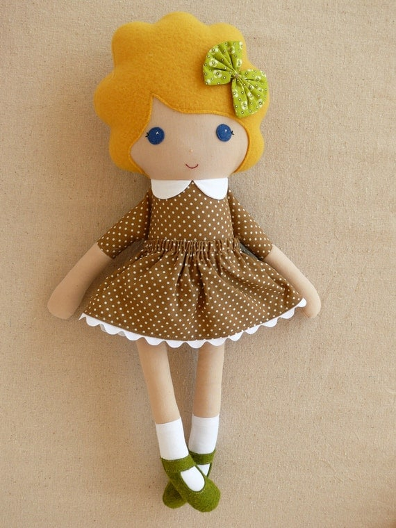 Fabric Doll Rag Doll Blond Haired Girl in Brown and White Polka Dotted Dress