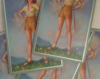 Retro Signature Vintage Pin Up Playing Cards Archery Girl