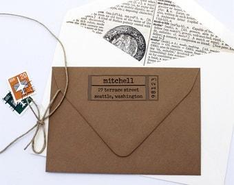 Typewriter Label Custom Return Address Stamp - Personalized Self Inking Stamp