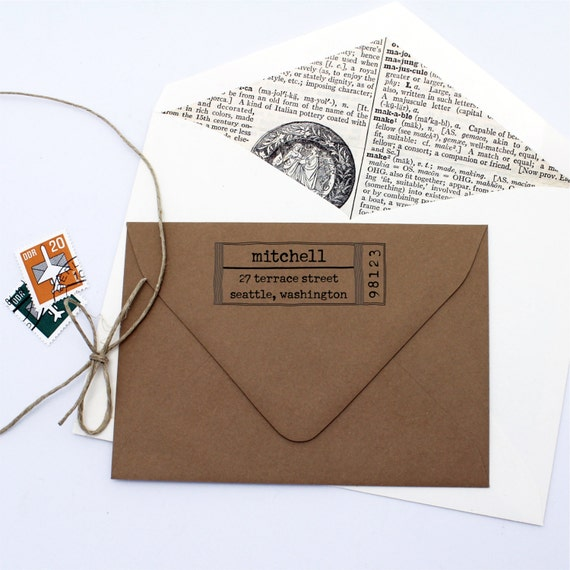 Typewriter Label Custom Return Address Stamp Personalized
