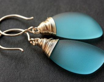 Aqua Blue Seaglass Earrings. Aqua Earrings. Aqua Sea Glass Earrings. Wire Wrapped Wing Earrings. Handmade Jewelry.