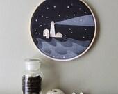 BEACON- tiny wood houses on hoop - Neutral art print painting -Nursery wall art -night lighthouse