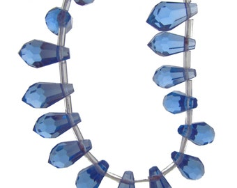 Fancy Tanzanite Quartz Faceted Icicle Teardrop Beads 13mm