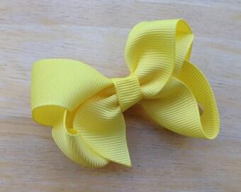 3 inch lemon yellow hair bow - yellow bow, 3 inch bows, boutique bows, girls hair bows, girls bows, toddler bows, yellow hair bows