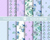 Shabby Chic Digital Paper Pack, Blue and Purple Floral digital backgrounds, Cottage Papers, Floral Digital Paper, Wedding Papers - 1669