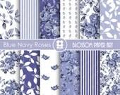 Blue Digital Paper Blue Navy Digital Paper Pack, Blue Roses, Scrapbooking, Roses, Blue Floral Papers - INSTANT DOWNLOAD  - 1794