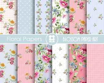 Shabby Chic Digital Paper Pack, Blue and Pink Floral digital backgrounds, Cottage Papers, Floral Digital Paper, Wedding Papers - 1668