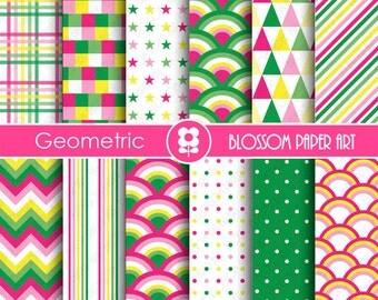 Digital Paper Hot Pink, Green Yellow Scrapbook Digital Papers, Modern Scrapbooking Paper Pack, Pink Green Yellow - INSTANT DOWNLOAD - 1840