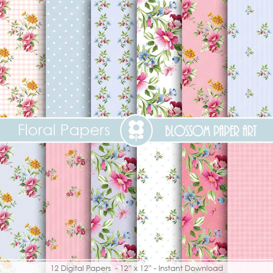 Papeles decorativos floreados rosa y celeste papeles - Papeles decorativos de pared ...