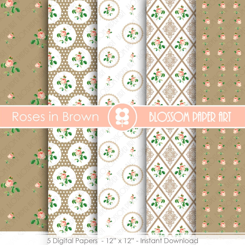 Papeles digitales decorativos vintage shabby chic flores - Papeles decorativos para imprimir ...